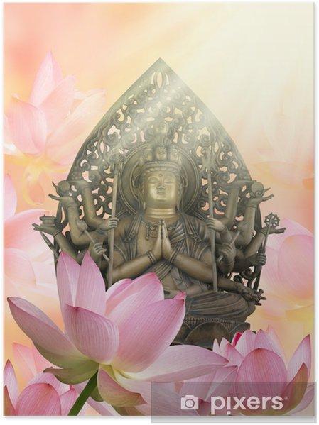 Poster 仏 像 と 蓮 の 花 - Bouddhisme