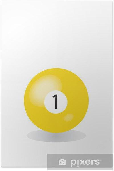 Poster 1 gelbe Billardkugel - Divertissements