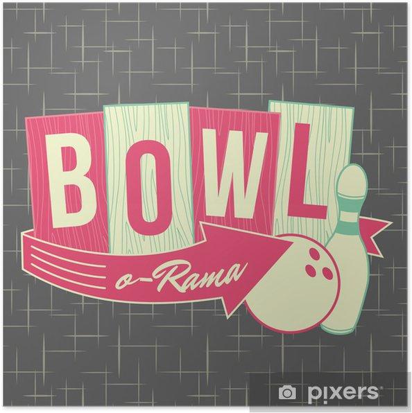 Poster 1950 Bowling style de logo - Mode
