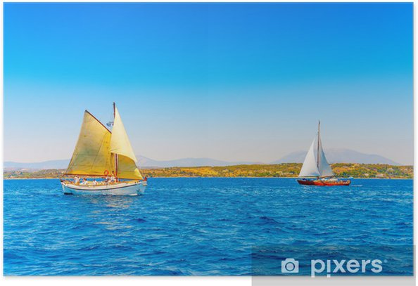 2 Classic Wooden Sailing Boats In Spetses Island In Greece Poster