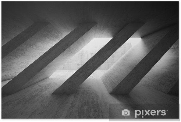Poster 3 d intérieur béton sombre avec colonnes diagonales - Ressources graphiques