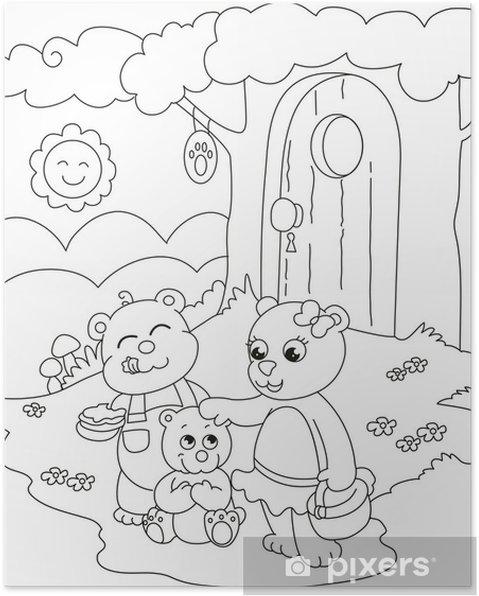 Póster 3 osos lindos. Ilustración para colorear para los niños ...