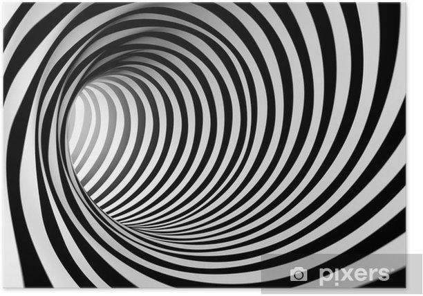 Poster 3d abstrait en spirale en noir et blanc - Styles