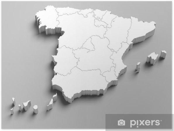 Carte Espagne Noir Et Blanc.Poster 3d Blanc Carte Espagne Sur Fond Gris