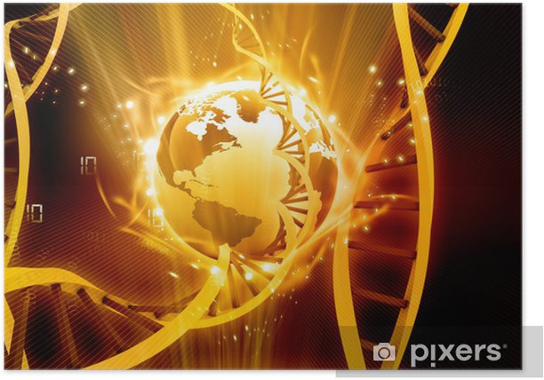 Poster 3d illustratie van gloeiende aarde met DNA - Gezondheid en Geneeskunde