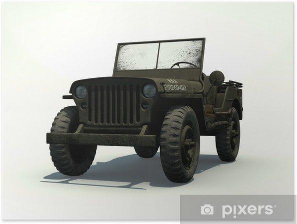Poster 3D Isolerad Willys Jeep - På vägen