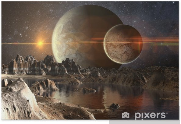 Poster 3D rendu fantastique planète extraterrestre - 3d illustration - Paysages