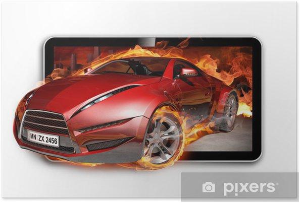 Poster 3D TV. Brandende auto op het TV scherm. - Videos