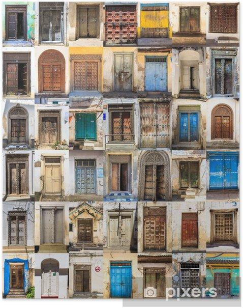 Poster 42 portes avant collage horizontal de Stone Town, Zanzibar - Maisons et jardins