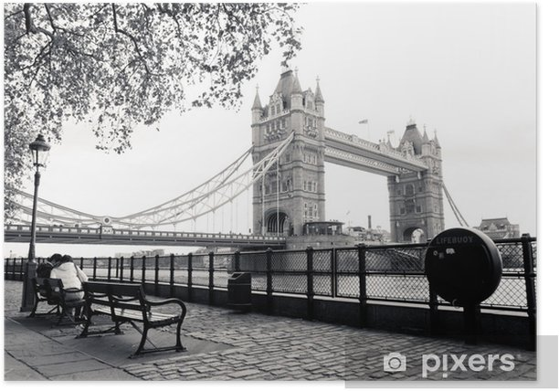 A black and white view of Tower Bridge Poster - Themes