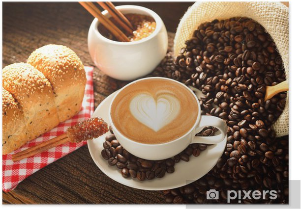 A cup of cafe latte with coffee beans and bread Poster - Themes