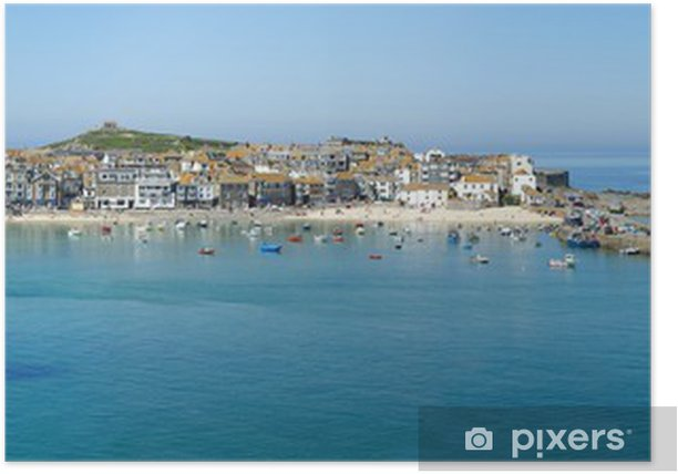 A panoramic view of St. Ives harbour in Cornwall, UK. Poster - Europe