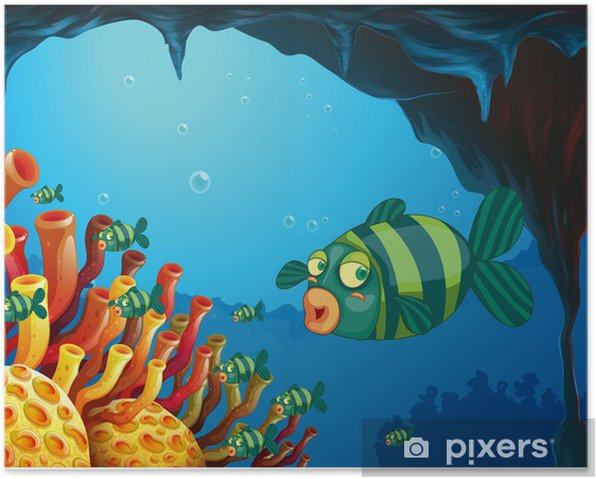 A school of stripe-colored fishes under the sea Poster - Aquatic and Marine Life