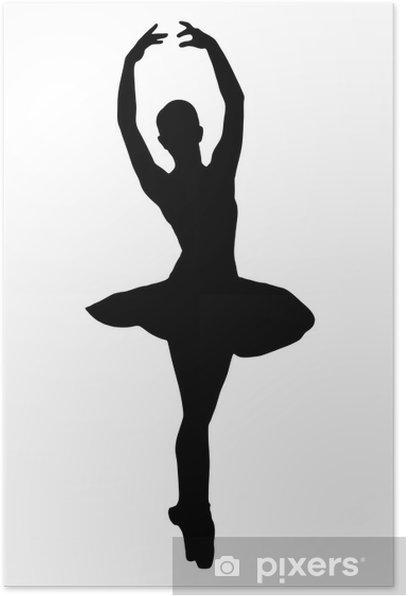 A silhouette of a ballerina dancer making a ballet Poster - Women
