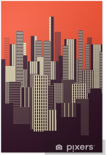 a three colors graphical abstract urban landscape poster in orange, and brown Poster - Landscapes