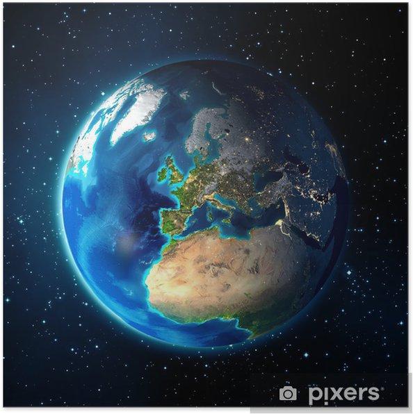 Poster Aarde in de ruimte - Heelal achtergrond - Europa - Aarde
