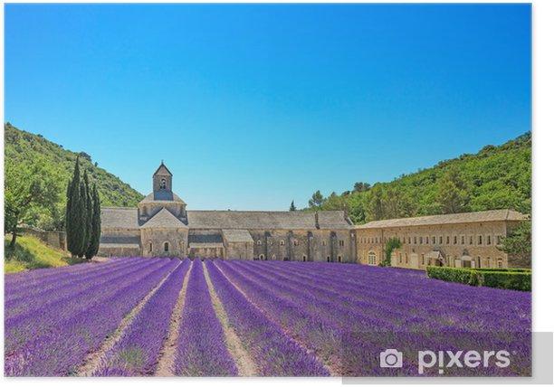 Poster Abbaye de Sénanque floraison des fleurs de lavande. Gordes, Luberon, Pr - Thèmes