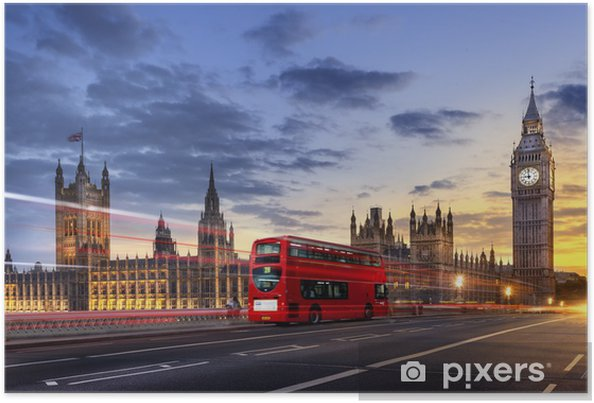 Poster Abbaye de westminster Big Ben London - Thema's