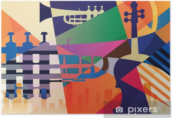 Abstract Jazz poster, music background Poster - Graphic Resources