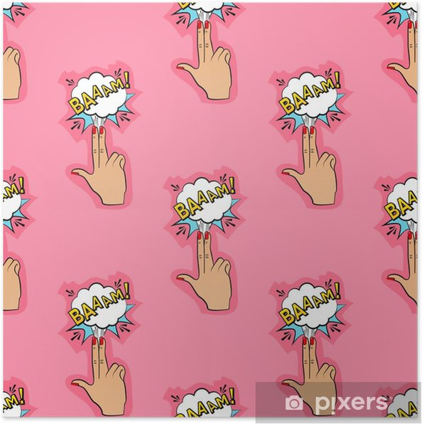 Abstract seamless pin up pattern for girls, boys, clothes  Creative vector  pin up background with fingers gun, cloud  Funny pattern wallpaper for