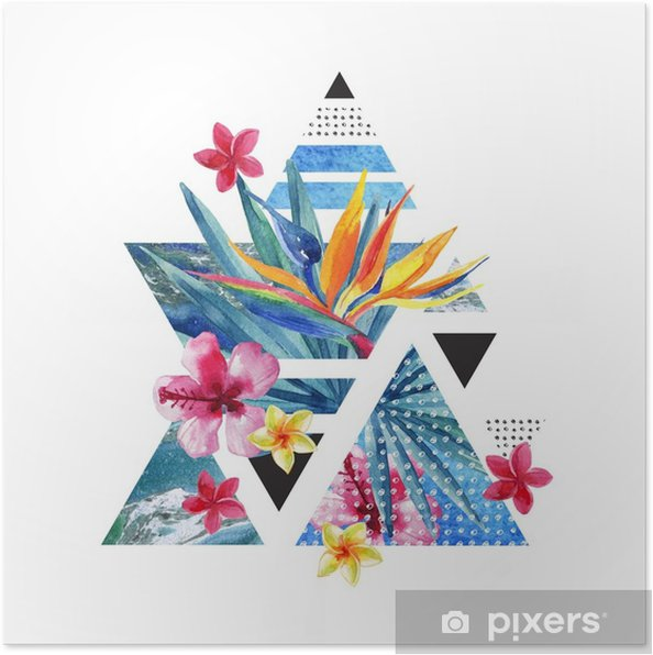 abstract summer geometric poster design with flowers poster pixers