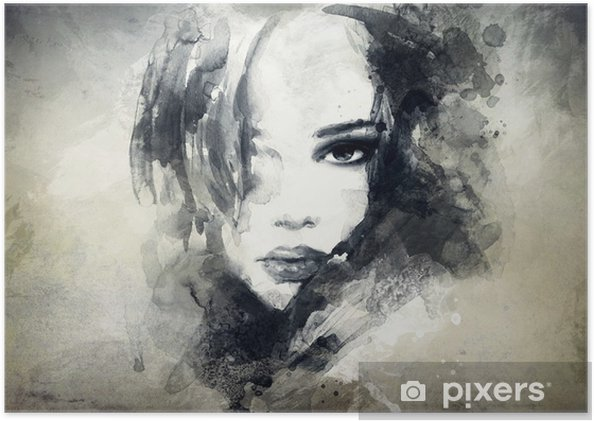 Poster Abstract vrouwenportret -