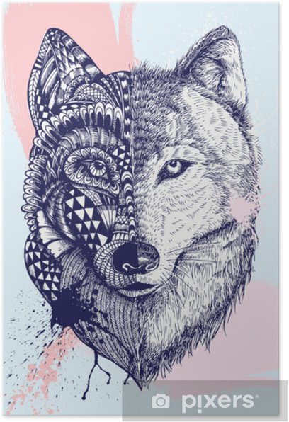 Abstract Wolf Illustration Vector Poster