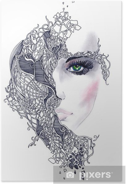 Poster Abstract woman face - Styles
