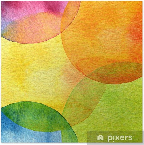Poster Abstracte aquarel cirkel geschilderde achtergrond - Stijlen