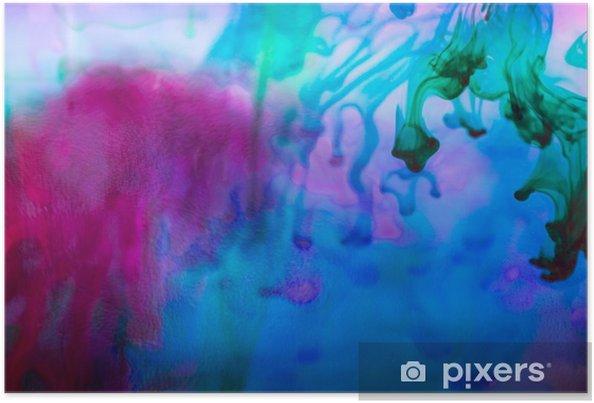 Poster Abstracte compositie met inkt en kleine bellen. Mooie achtergrond, textuur en kleuren - Grafische Bronnen