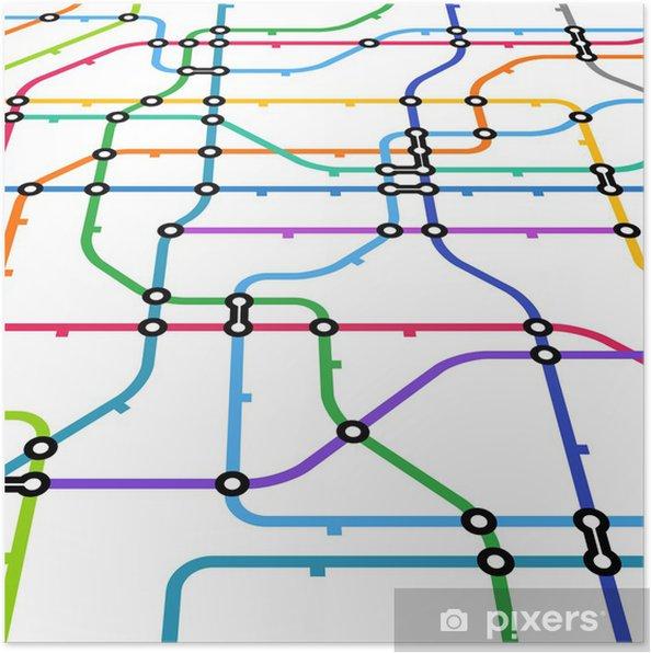 Poster Abstracte kleur metro regeling in perspectief - Spoorwegen
