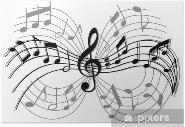 Poster Abstracte muzikale compositie - Amusement