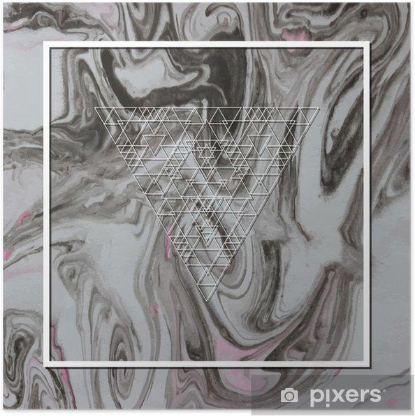 Poster Abstracte mystieke meetkunde, lineaire alchemie, geheim, filosofische teken. - Grafische Bronnen