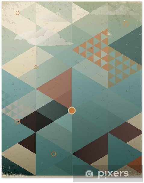 Poster Abstracte Retro Geometrische Achtergrond met wolken -