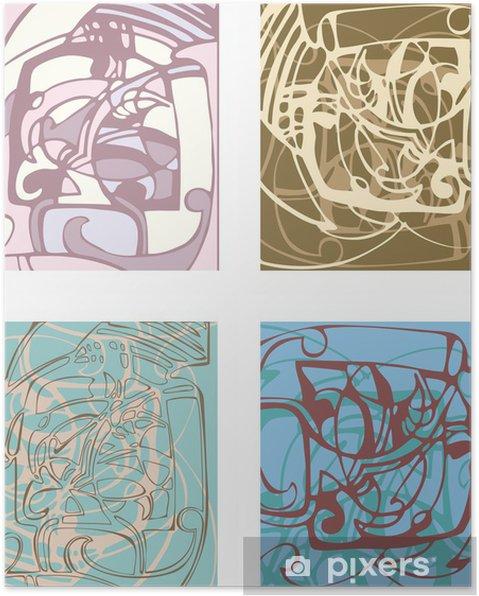 Poster Abstrait arrière-plan sur la base de formes stylisées. - Vie