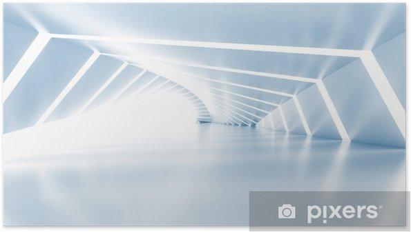 Poster Abstrait vide lumineux bleu clair couloir, 3d - Ressources graphiques