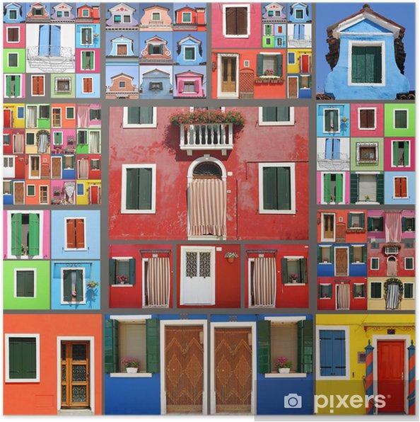 Poster Abstraite maison collage - Villes européennes