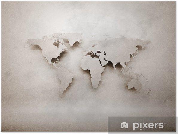 Poster Abstrakt 3d grunge världskarta - Stilar