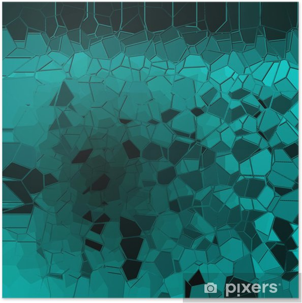 Poster Abstrakt blå geometriska mönster bakgrund - Grafiska resurser