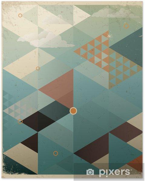 Poster Abstrakt Retro geometrisk bakgrund med moln -