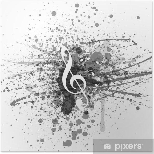 poster achtergrond muziek noten clef • pixers®  we leven