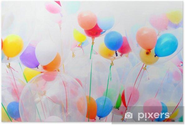 Poster Achtergrond van bonte ballonnen - Meisjeskamer