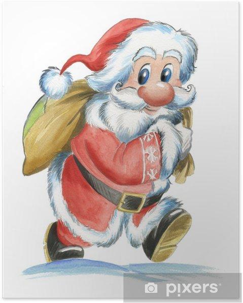 Poster Acquerello di Babbo Natale tradizionale - Fêtes internationales
