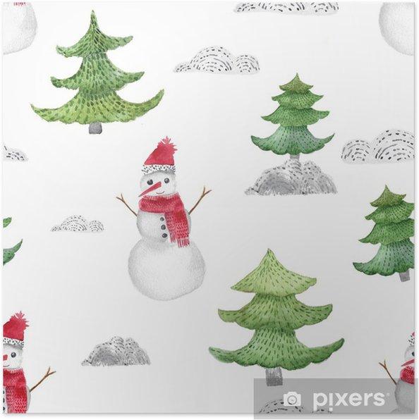 Póster Acuarela Navidad De Patrones Sin Fisuras Con Abetos Y Regalos Decoración De Año Nuevo Por Invitación Tarjetas