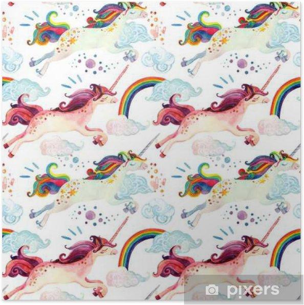 Póster Acuarela patrón sin fisuras unicornio - Hobbies y entretenimiento