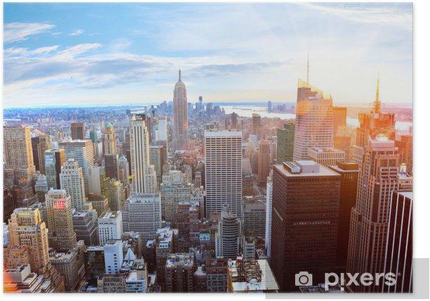 Aerial view of Manhattan skyline at sunset, New York City Poster -
