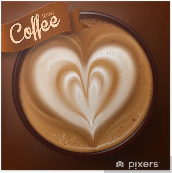 Poster Affiche avec une tasse de café. Vecteur - Thèmes