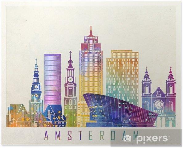 Poster Affiche d'aquarelle d'amsterdam landmarks - Paysages