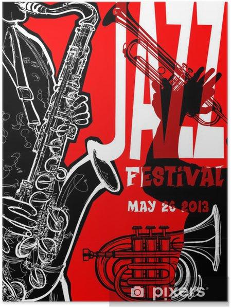 Poster Affiche de jazz avec le saxophoniste - Jazz