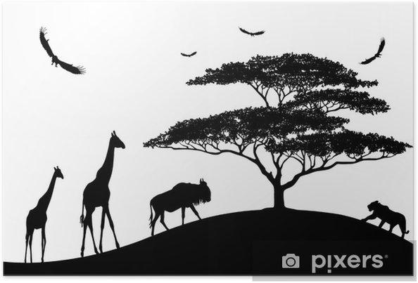 Póster África Animales Siluetas Negras Sobre Un Fondo